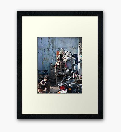 Street Barber Framed Print