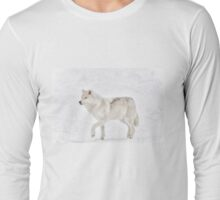 Tip Toe in the Snow - Arctic wolf Long Sleeve T-Shirt