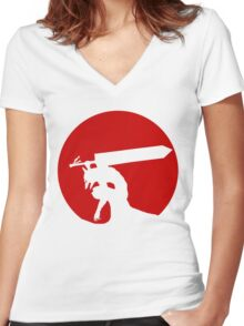 Berserk Red Moon Women's Fitted V-Neck T-Shirt