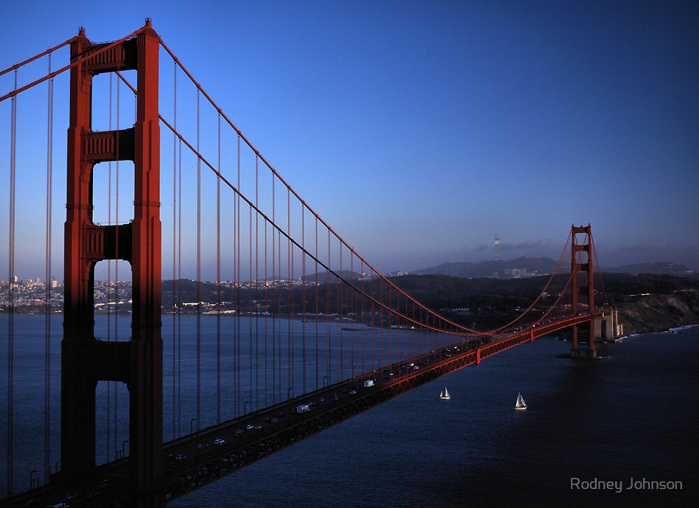 Golden Gate Bridge at Sunset by Rodney Johnson