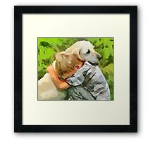 Yellow Lab with Child Framed Print