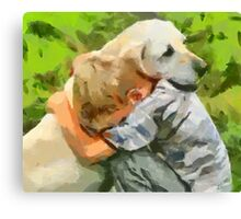 Yellow Lab with Child Canvas Print
