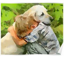 Yellow Lab with Child Poster
