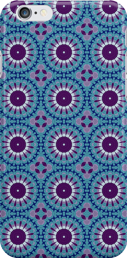 Iphone Cover - Blue Circles by Pendraia