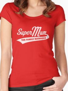 Super Mum – The Family Manager (White) Women's Fitted Scoop T-Shirt