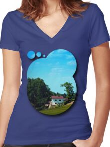 Farm, trees, clouds - what else? Women's Fitted V-Neck T-Shirt