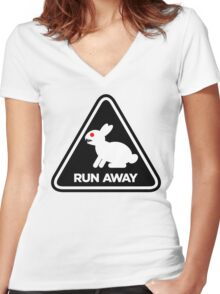 Killer Rabbit (Black) Women's Fitted V-Neck T-Shirt