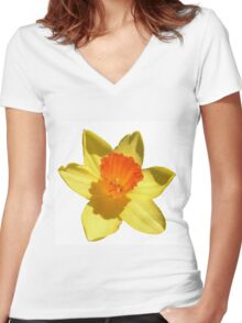 Daffodil Emblem Isolated On White Women's Fitted V-Neck T-Shirt