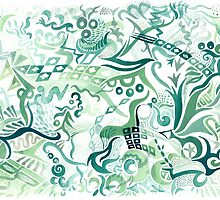 Composition in Green Gouache by Julia Marshall