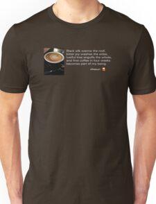 Caffeinated Poetry - Black silk Unisex T-Shirt