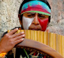 Quechuan Pan Flute Player by Al Bourassa