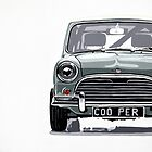 Classic Mini Cooper front view. by Phil Bower