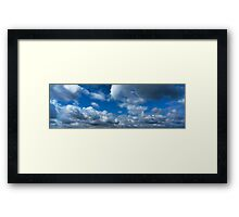 Blue sky with cumulus clouds Framed Print