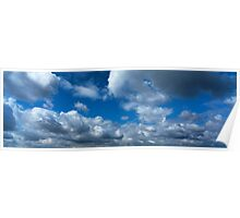 Blue sky with cumulus clouds Poster