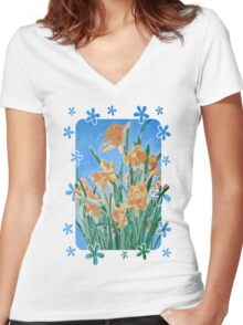 Golden Daffodils Women's Fitted V-Neck T-Shirt