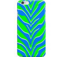 Neon Green and Blue Zebra Stripes  iPhone Case/Skin