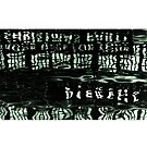 Green Shapes and Text Reflection in Water by melmoth