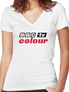 Retro BBC colour logo, as seen at Television Centre Women's Fitted V-Neck T-Shirt