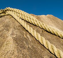 ropes on the rock anchor by Anne Scantlebury