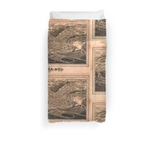 Panoramic Maps Ithaca NY Duvet Cover