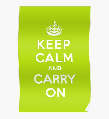 Keep Calm and Carry On Apple Green Poster