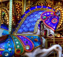 Carousel Horse Blue Charger by Bob Christopher