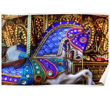 Carousel Horse Blue Charger Poster