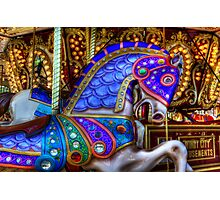 Carousel Horse Blue Charger Photographic Print