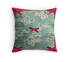 Red and Green Floral  Throw Pillow