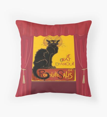 Le Chat D'Amour with Theatrical Curtain Border Throw Pillow