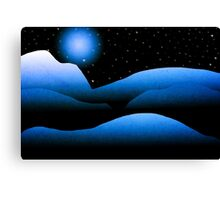 Blue Moon Mountain Landscape Art Canvas Print