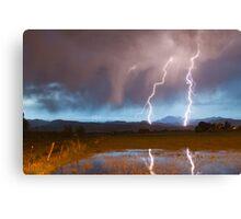Lightning Striking Longs Peak Foothills Canvas Print