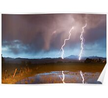 Lightning Striking Longs Peak Foothills Poster