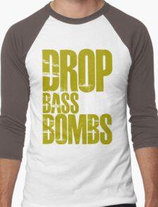 Drop Bass Not Bombs (Golden) Men's Baseball ¾ T-Shirt