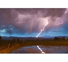 Lightning Striking Longs Peak Foothills 2 Photographic Print