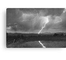 Lightning Striking Longs Peak Foothills 2BW Canvas Print