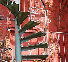 Fire Escape and Graffiti by marybedy