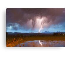 Lightning Striking Longs Peak Foothills  3 Canvas Print