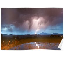 Lightning Striking Longs Peak Foothills  3 Poster
