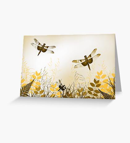 Gold Dragonfly Greeting Card
