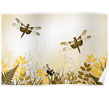 Gold Dragonfly Art Poster