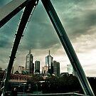 Melbourne Skyline through Arch Bridge by Andrew Wilson