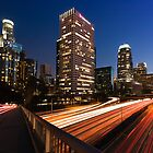 Downtown Los Angeles Freeway at sunset by Firesuite