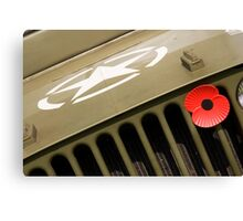 US Army Jeep With Poppy Canvas Print