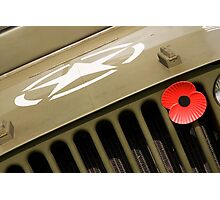 US Army Jeep With Poppy Photographic Print