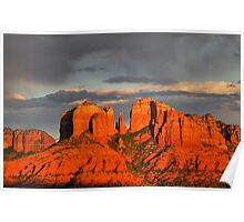Sunset Over Cathedral Rock Poster