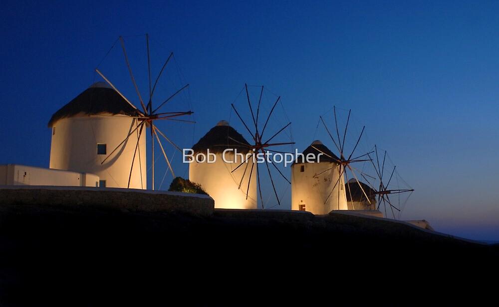 Windmills At Mykonos by Bob Christopher