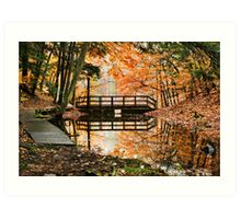 Autumn Bridge Landscape Art Print