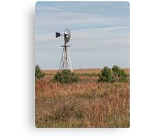 Windmill in A Prairie Canvas Print