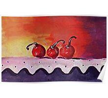 Opps only 3 cherries left, watercolor Poster